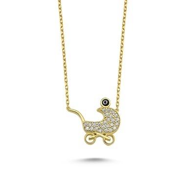Online Takı Bebek Arabası Gümüş Kolye Renkli